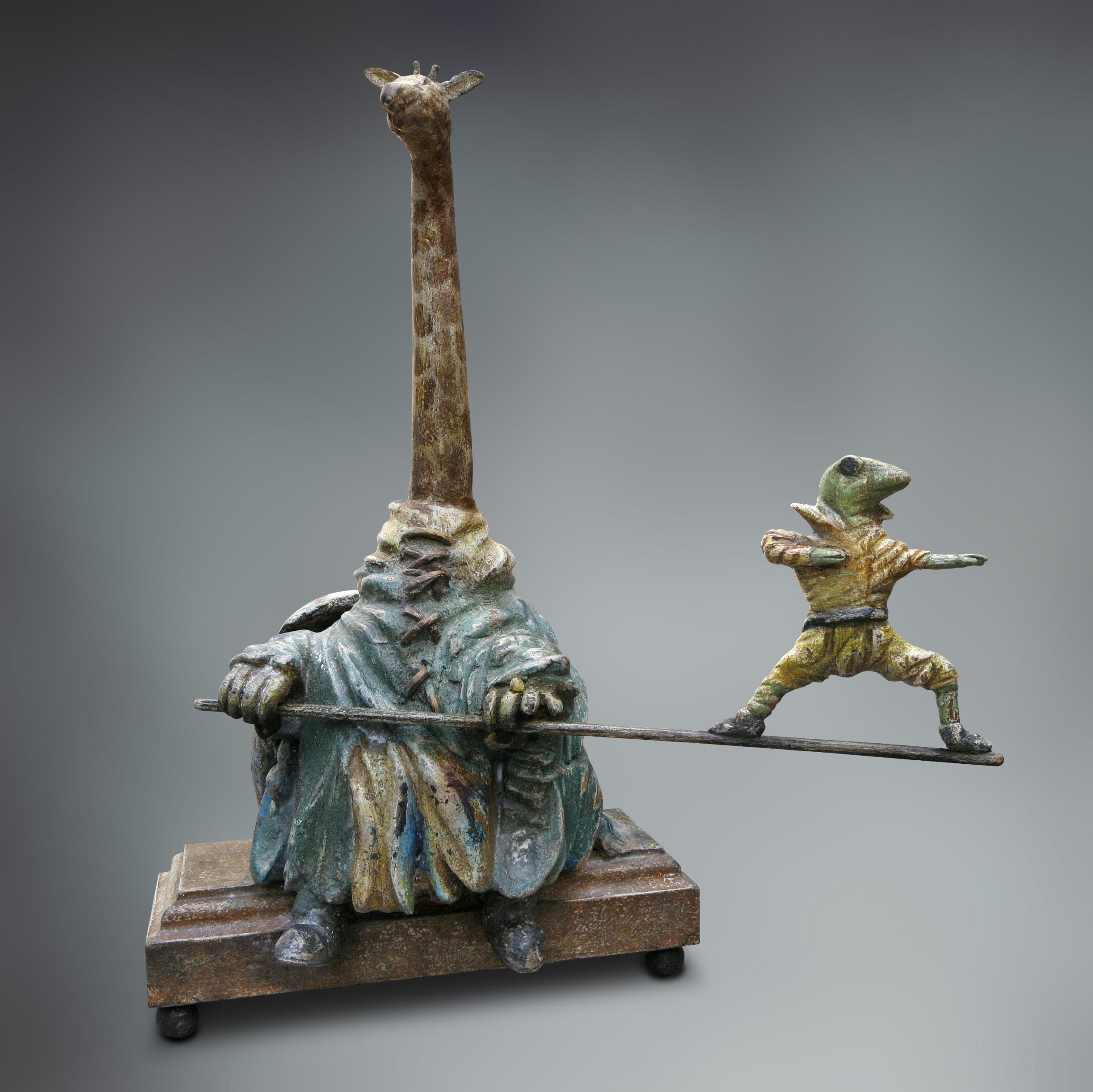 Giraffe met balancerende kikker - beeld in hout - Eugene Peters