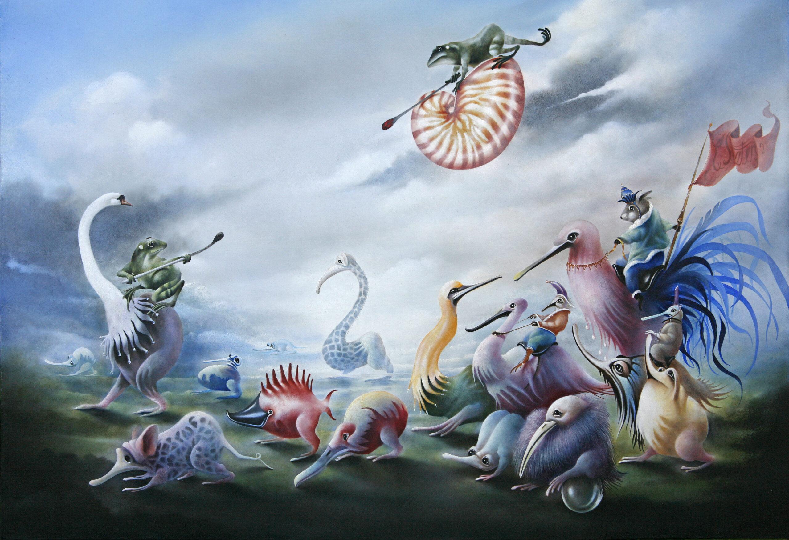 Attaque vanuit de lucht - schilderij - Eugene Peters