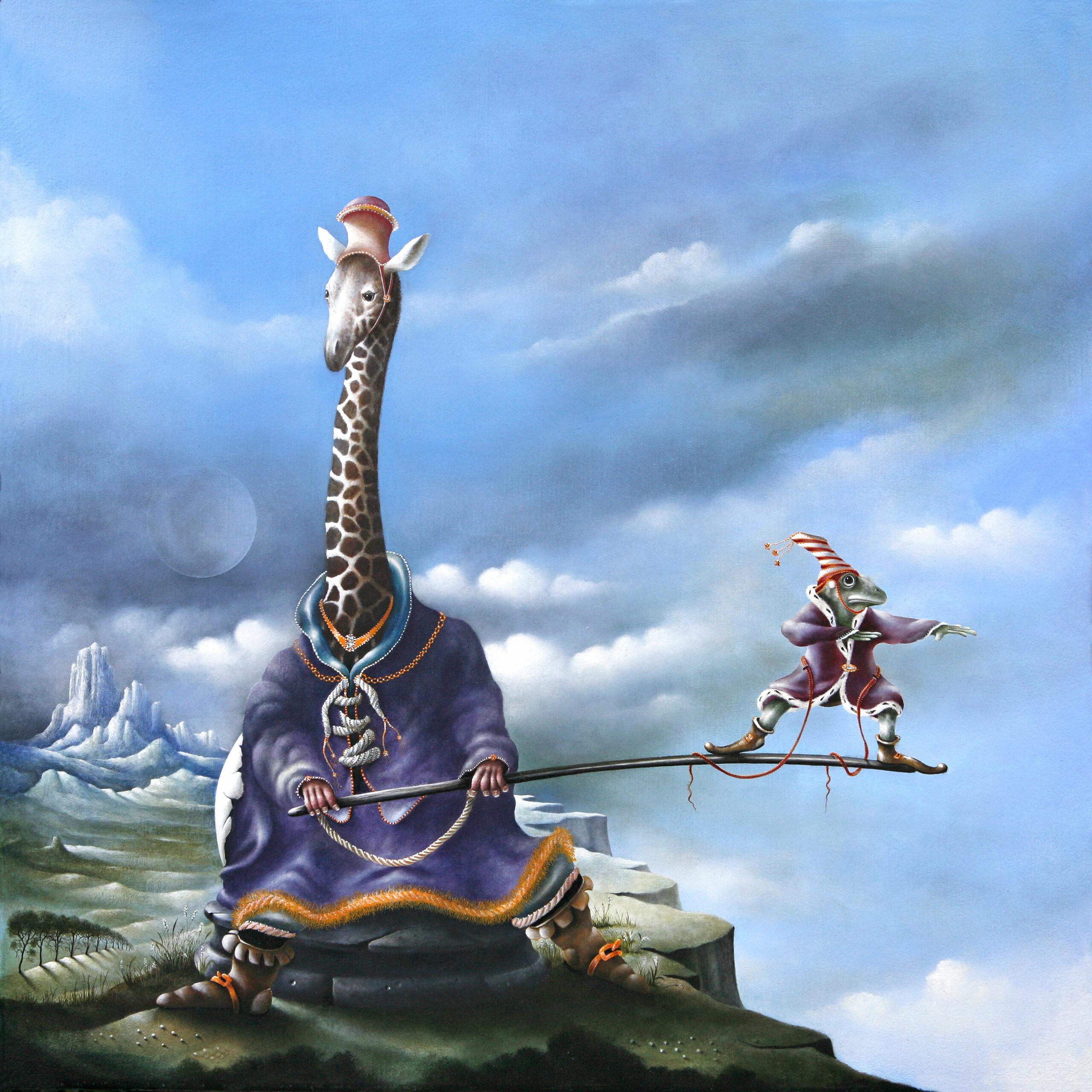 Een hachelijke positie - schilderij - Eugene Peters